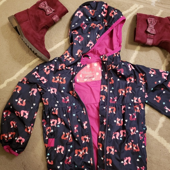 Cherokee Toddler Girls Wind and Water Resistant Hooded Jacket Sizes 2T 5T NWT